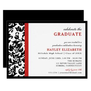 Modern Damask Red Border Graduation Invitation