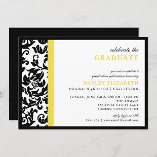 Modern Damask Yellow Border Graduation Invitation