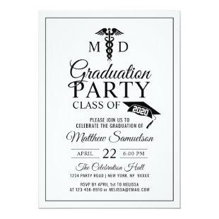 Modern Doctor's Medical School MD GRADUATION Party Invitation