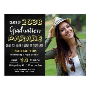 Modern DRIVE BY PHOTO Graduation Party Invitation Postcard
