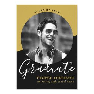 Modern Elegant Black Gold Photo Graduation Party Invitation