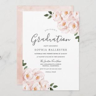 Modern Elegant Blush Flowers Graduation Party Invitation