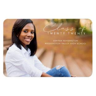Modern Elegant Graduation Script Photo Magnet