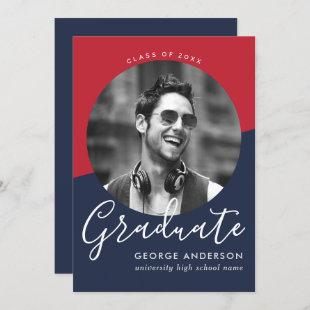 Modern Elegant Red Blue White | Photo Graduation Invitation