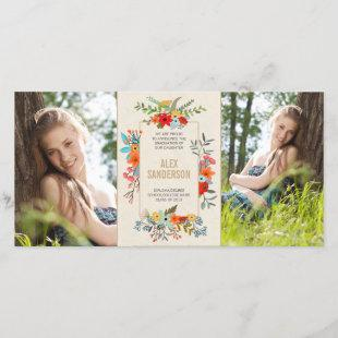 Modern Floral and Gold Border Graduation Announcement