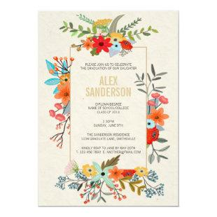 Modern Floral and Gold Border Graduation Party Invitation