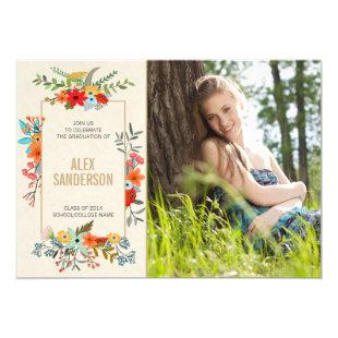 Modern Floral and Gold Border Graduation Photo Invitation