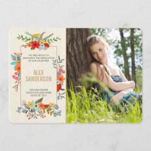 Modern Floral and Gold Border Graduation Photocard Announcement