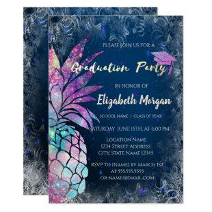 Modern Glitter Graduation Cap, Pineapple Invitation