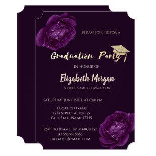 Modern Glitter Graduation Cap, Purple Roses Invitation