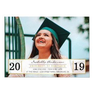 Modern Gold Black & White Graduation Party | Photo Magnetic Invitation