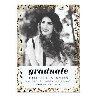 Modern Gold Confetti Photo Graduation Invitations