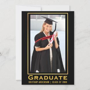 Modern Gold Graduation Photo Announcement