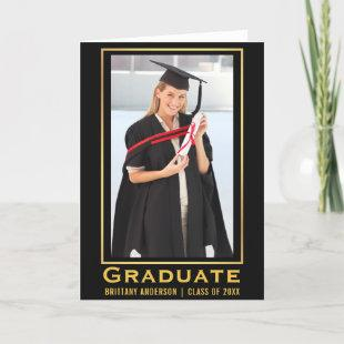 Modern Gold Graduation Photo Announcement Fold