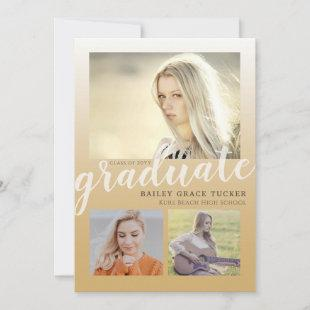Modern Gold Ombre 4-Photo Collage Graduation Announcement