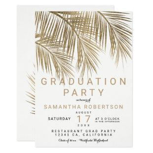Modern gold palm tree elegant graduation party invitation