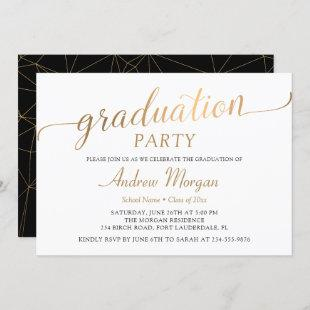 Modern Gold Script Black & White Graduation Party Invitation