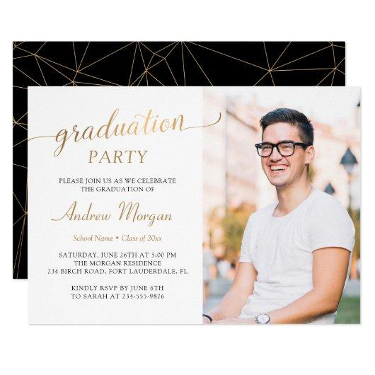 Modern Gold Script Black & White Graduation Photo Invitation