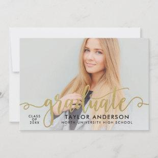 Modern Gold Script Graduate Photo Graduation Party Invitation