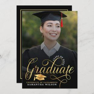 Modern Gold Script Photo Graduation Invitation