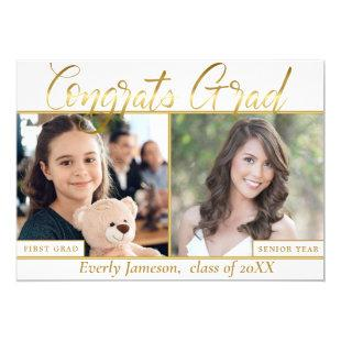 Modern Golden White 3 PHOTO Graduation Party Invitation