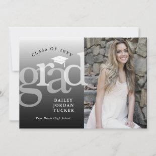 Modern Grad Black & White Ombre Graduation Announcement