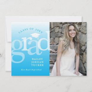 Modern Grad Bright Blue Ombre Graduation Announcement
