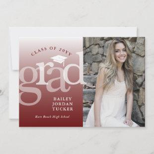 Modern Grad Burgundy Dark Red Ombre Graduation Announcement