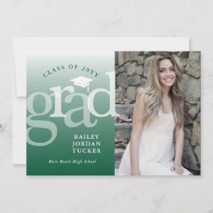 Modern Grad Dark Green Ombre Graduation Announcement