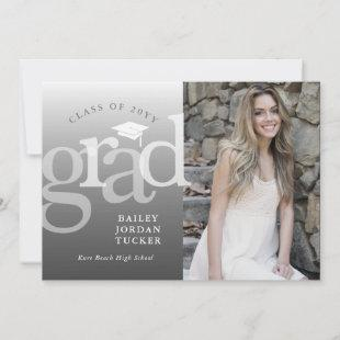 Modern Grad Gray Ombre Graduation Announcement