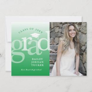 Modern Grad Green Ombre Graduation Announcement