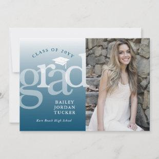 Modern Grad Navy Blue Ombre Graduation Announcement