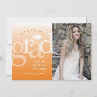 Modern Grad Orange Ombre Graduation Announcement