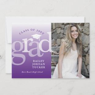 Modern Grad Purple Ombre Graduation Announcement