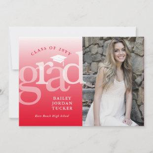 Modern Grad Red Ombre Graduation Announcement