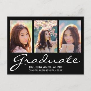 Modern Graduation 3 Photo Collage White Script Announcement Postcard