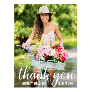Modern Graduation Thank You Grad Photo Postcard