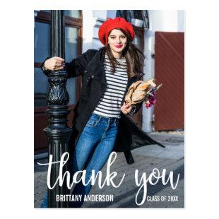 Modern Graduation Thank You Graduate Photo Postcard