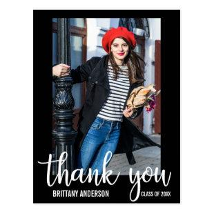 Modern Graduation Thank You Graduate Photo WB Postcard