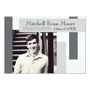 Modern Gray Stripes - 3x5 Graduation Announcement