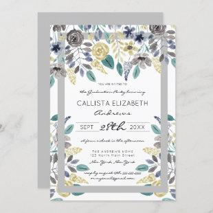 Modern Gray Yellow Floral Watercolor Graduation Invitation