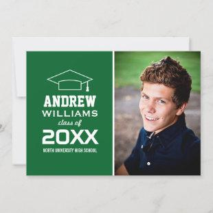 Modern Green Photo Graduation Party Invitation
