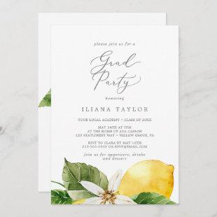 Modern Lemon Garden Grad Party Invitation