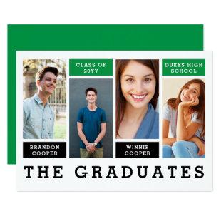 Modern Lines Sibling Graduation Announcement