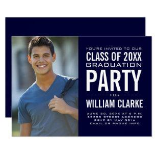 Modern Male Grad Graduation Party Invitation