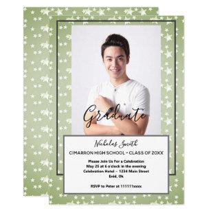 MODERN MALE GRAD GREEN STARS | GRADUATION PARTY INVITATION