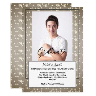 MODERN MALE GRAD GREY STARS | GRADUATION PARTY INVITATION