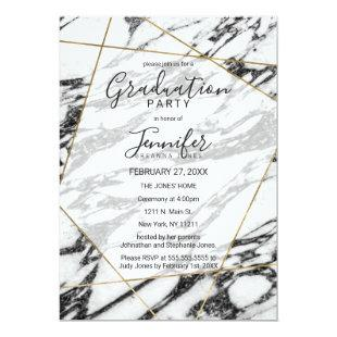 Modern Marble Gold Geometric Graduation Party Invitation