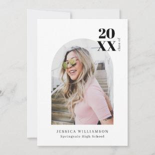 Modern Minimalist Pink Arch Photo Graduation Party Invitation