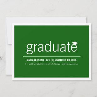 Modern Minimalist Simple Graduate Graduation Photo Announcement